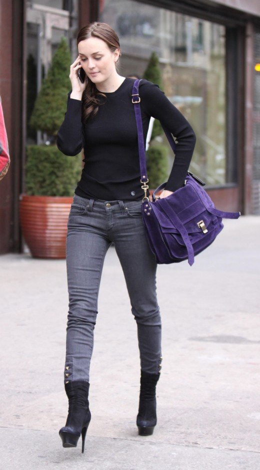 Leighton Meester in tight jeans and high heels