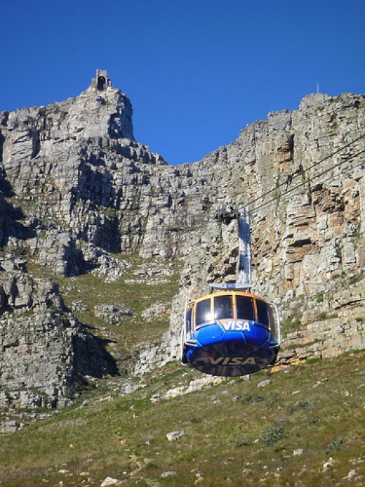 Cable Car At Table Mountain on its way to the top