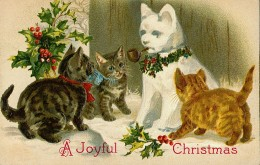 Free Vintage Cats Christmas Cards