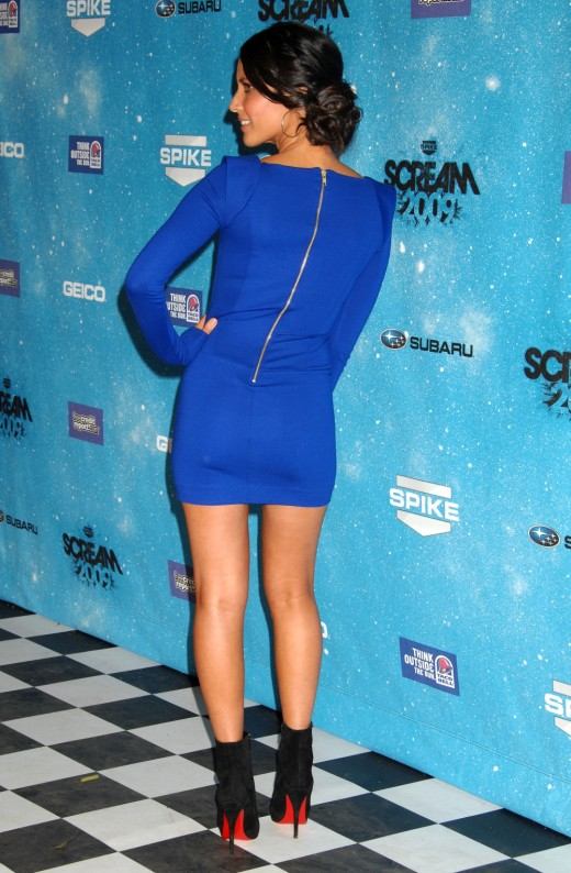 Olivia Munn in a short blue dress and Christian Louboutin high heel booties