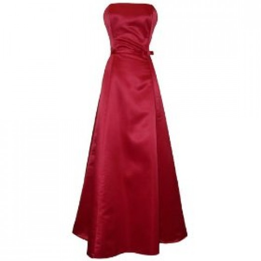 Long satin strapless dress
