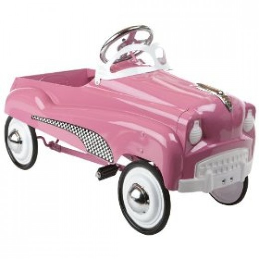 pink toy pedal car