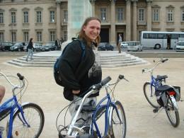 My husband posing with his bike