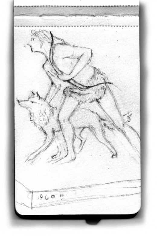 Sketch of an Indian going for hunting