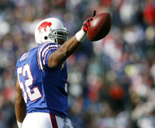 Buffalo Bills linebacker Chris Draft reacts after he intercepted a pass from the Miami Dolphins in the first quarter of an NFL football game in Orchard Park, N.Y., on Sunday, Nov. 29, 2009. (AP Photo/Mike Groll)