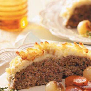 Meatloaf with a mashed potato crust is oh so delicious and tasty.