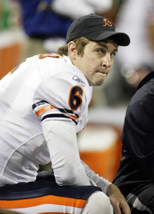 Jay Cutler threw for 147 yards and only two interceptions against the Vikings. looks on from the bench in the fourth quarter AP Photo/Andy King
