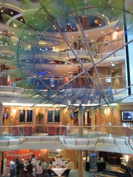 "View of Open Central Area above main floor lounge on Royal Caribbean ""Serenade of the Seas""  cruise ship"