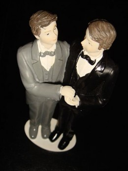 Gay couple for a wedding cake.  Photo by Stefano Bolognini courtesy of Wikimedia Commons.