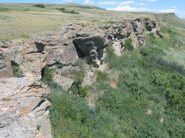 Buffalo Jump in southern Alberta. The First Nations people would drive the bison over these cliffs to harvest meat, bones for implements and skins.