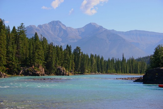 A view of the Bow River which begins in the Rockies and flows through Calgary.