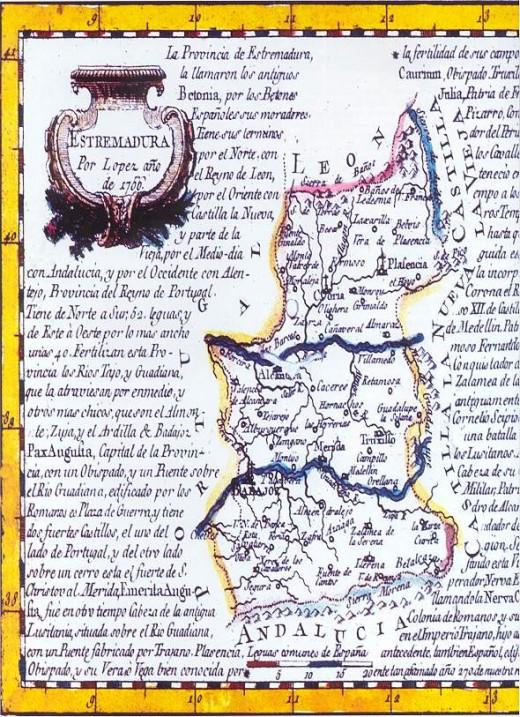 Mapa de Extremadura del S.XVIII