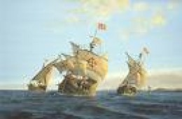 La Nina, La Pinta and the Santa Maria Ships - Watercolor