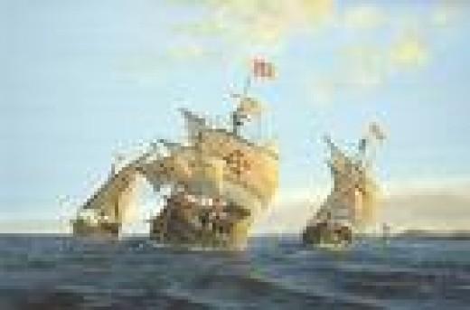 La Nina, La Pinta and the Santa Maria Ships - Watercolor