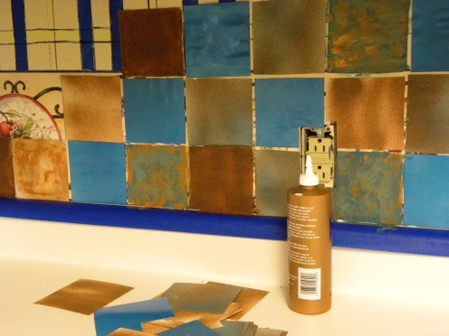 This photo shows where I started to place the tiles.  Notice the blue strips behind the tiles.