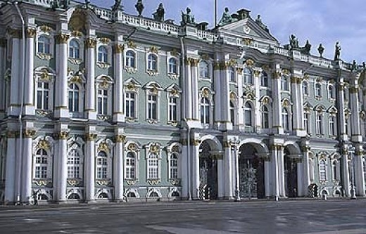 The Winter Palace, in a dusty blue likeness.