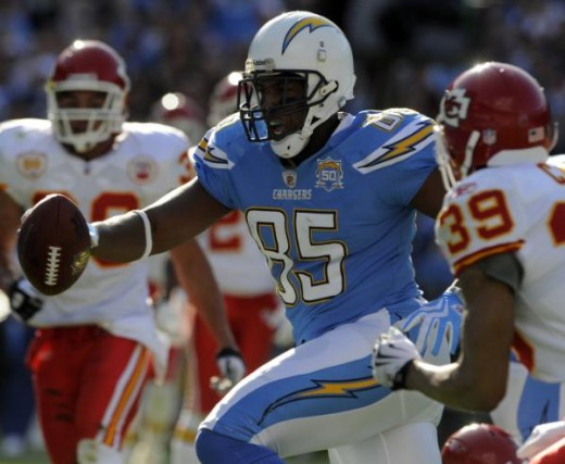 Antonio Gates (85) strides into the end zone with a 19-yard touchdown-reception during the first quarter of an NFL football game Sunday, Nov. 29, 2009, in San Diego. (AP Photo/Chris Carlson)