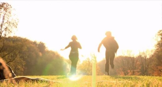 Scene in park, Jamie(Erin Fisher)& Charlie(Cris Lankenau)