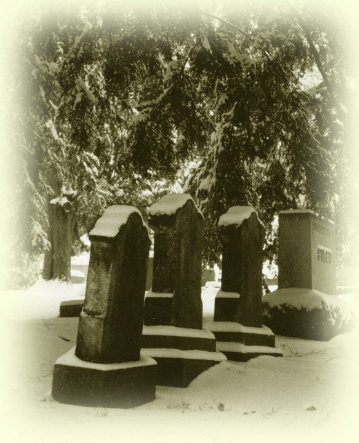 Circa 1800 tombstones in a local cemetery