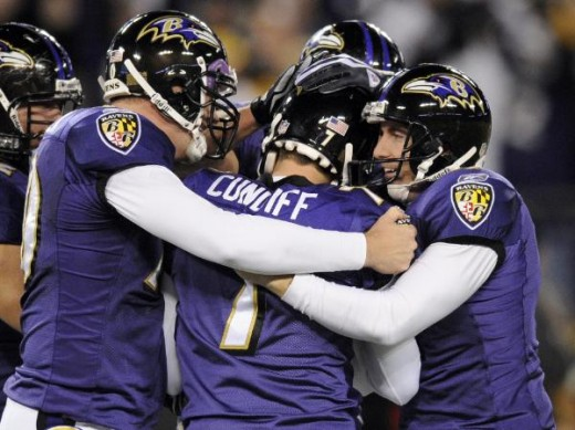 Billy Cundiff (7) is congratulated by snapper Matt Katula, left, and holder Sam Koch, right, after kicking the game-winning field goal in overtime to defeat the Pittsburgh Steelers 20-17 in an NFL football game Sunday, Nov. 29, 2009, in Baltimore. Th