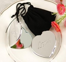 Engraved Heart Shaped Compact Mirror