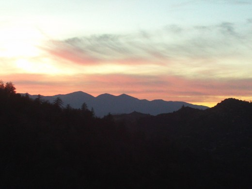 Saying good bye with a close-up of the pinkish sunset over Mount Baldy.