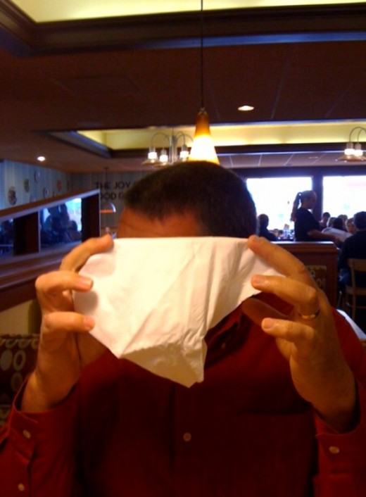 My husband at Village Inn in CS, choosing to remain anonymous!