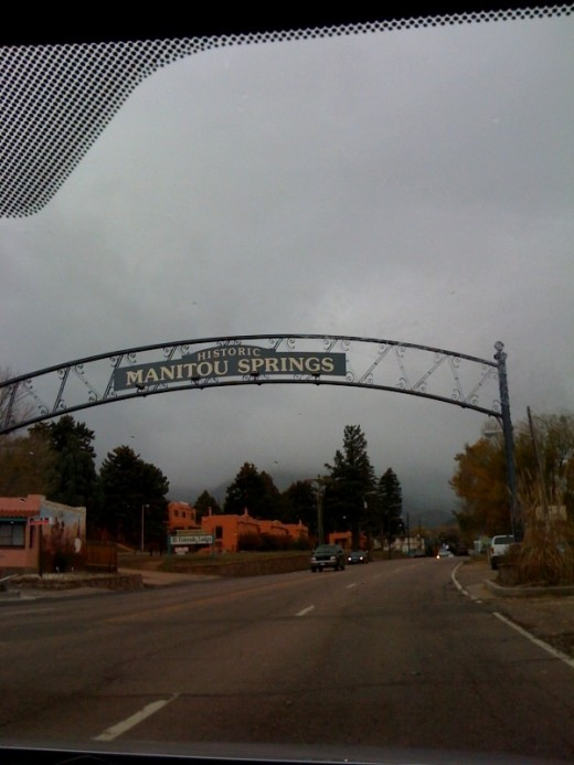 The entrance to Manitou Springs, Colorado.  This quaint road eventually leads to Pike's Peak!  The shopping looked good!  There were several restaurants along this road.