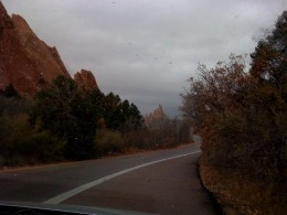 The view of the distant mountains from the Garden of the Gods was hidden by the snow clouds moving in.