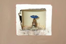 Mold around a faucet