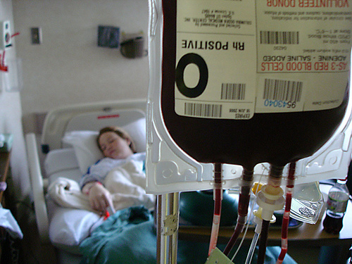 Acute loss of large amounts of blood can cause anemia. photo by makelessnoise. http://www.flickr.com/photos/makelessnoise/2562431372/