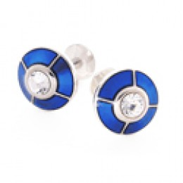 royal blue enamel and crystal cuff links in silver