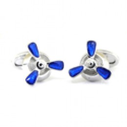 blue and silver whimsical propeller cull links