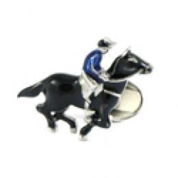 Racing Horse Cuff Link with Jockey in Blue Silk and Black Horse