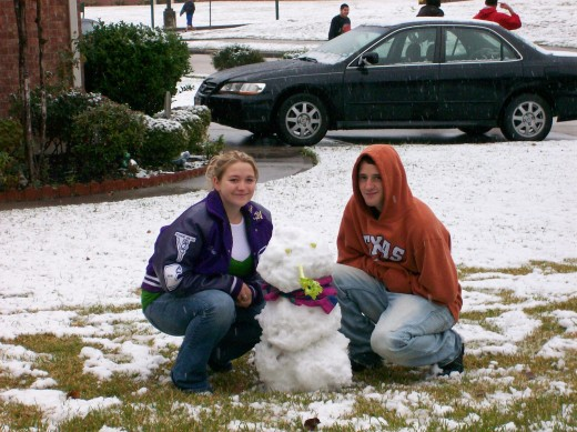 So proud of their snowman.