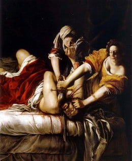 Judith vs. Holofernes. Image credit : http://www.aug.edu/augusta/iconography/biggerFiles/judithGentileschi.jpg