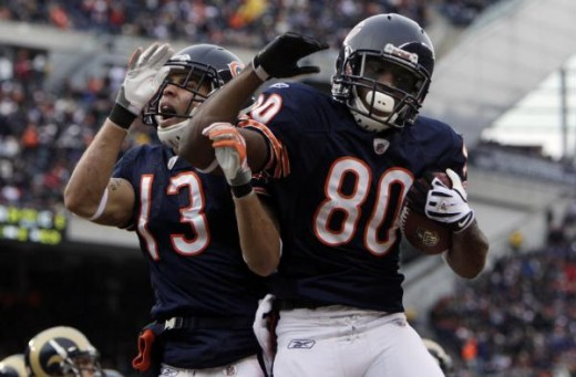 Earl Bennett and Johnny Knox celebrate (AP Photo/M. Spencer Green)