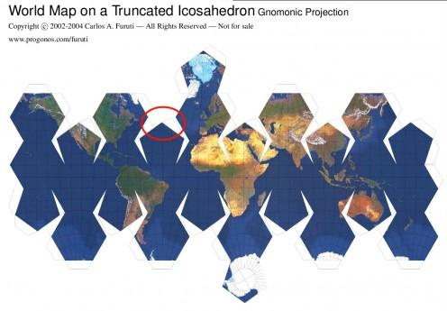 Truncated Icosahedron World Map