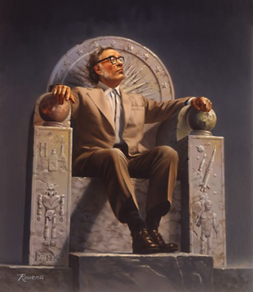 Enthroned Isaac Asimov