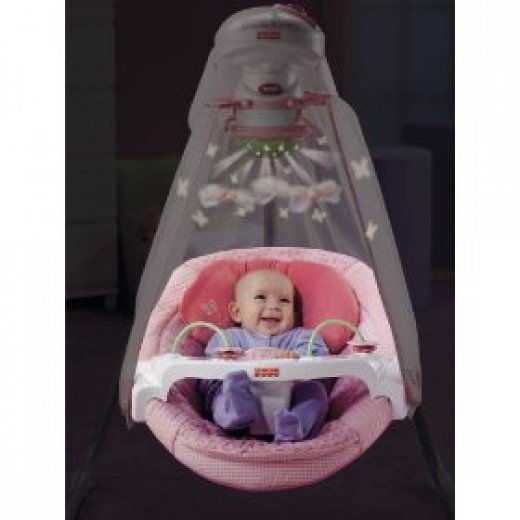 Pink Papasan baby cradle swing