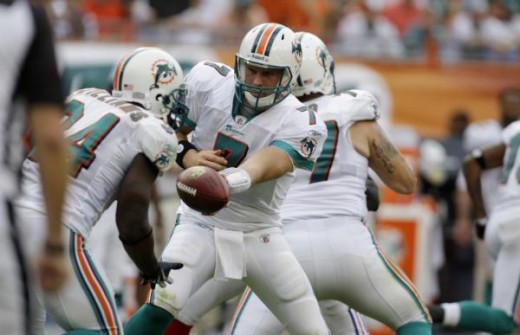 Miami Dolphins quarterback Chad Henne (7) hands off the football to Miami Dolphins running back Ricky Williams, left, in the second quarter during a NFL football game in Miami Sunday, Dec. 6, 2009. (AP Photo/Lynne Sladky)