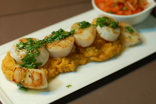 Scallops on sweet potatoes http://www.flickr.com/photos/travelingmcmahans/2963027980/