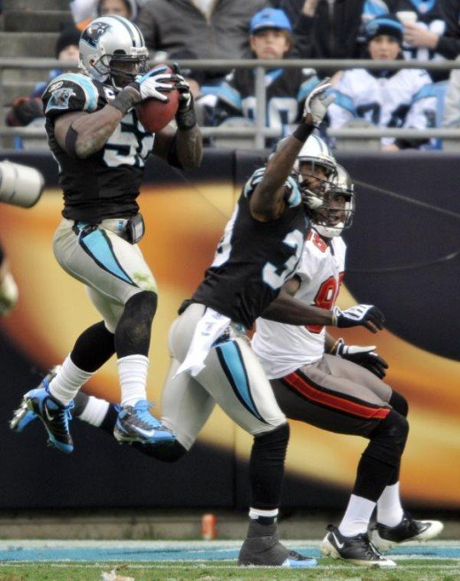 Matt Moore (3) congratulates teammate Jonathan Stewart (28) after Stewart's touchdown run against the Tampa Bay Buccaneers in the first quarter of an NFL football game in Charlotte, N.C., Sunday, Dec. 6, 2009. (AP Photo/Mike McCarn)