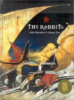 "John Marsden & Shaun Tan ""The Rabbits"" (1998) is a good example of contemporary picture book about ecological and cultural destruction, told from the viewpoint of native animals and illustrated with remarkable and highly stylised art."