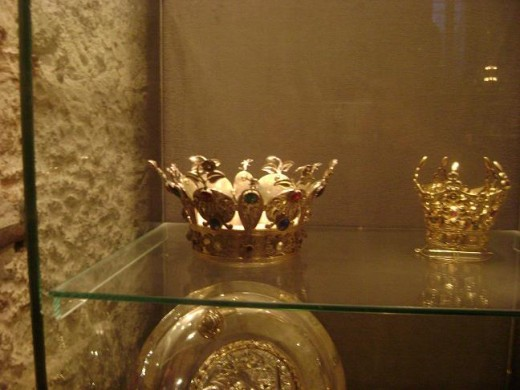 Crowns and Jewels on display inside the cathedral