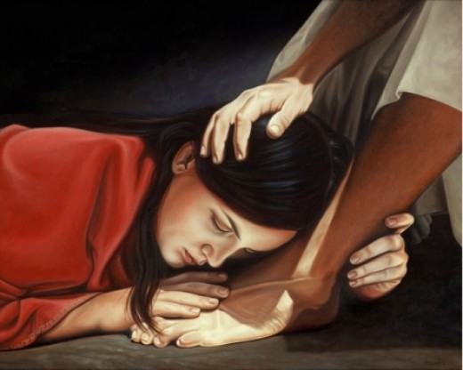 Woman that washed Jesus feet with her tears and dried them with her hair