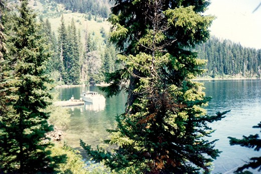 Looking back at the boat that brought us across Jenny Lake