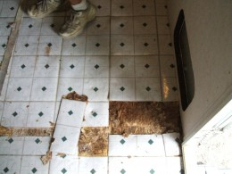Water damage takes it's toll on an rv floor.