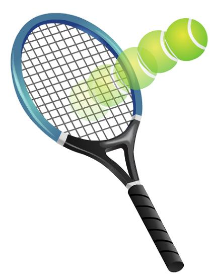 Tennis racket and bouncing tennis ball clip art