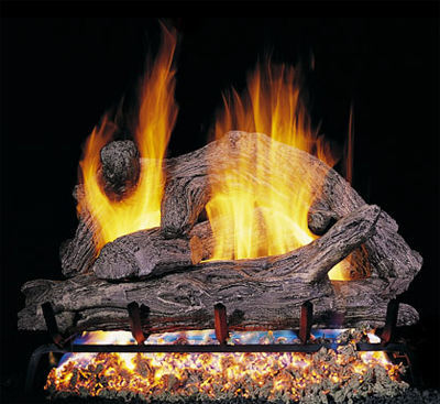 Vented gas log fireplace